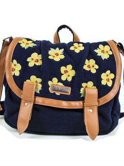 Bolsa Carteiro floral amarela