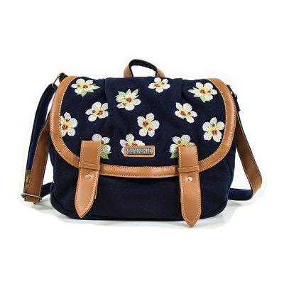bolsa carteiro floral branca