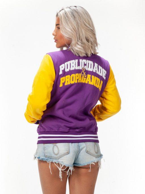 jaqueta americana de publicidade e propaganda amarelo com roxo