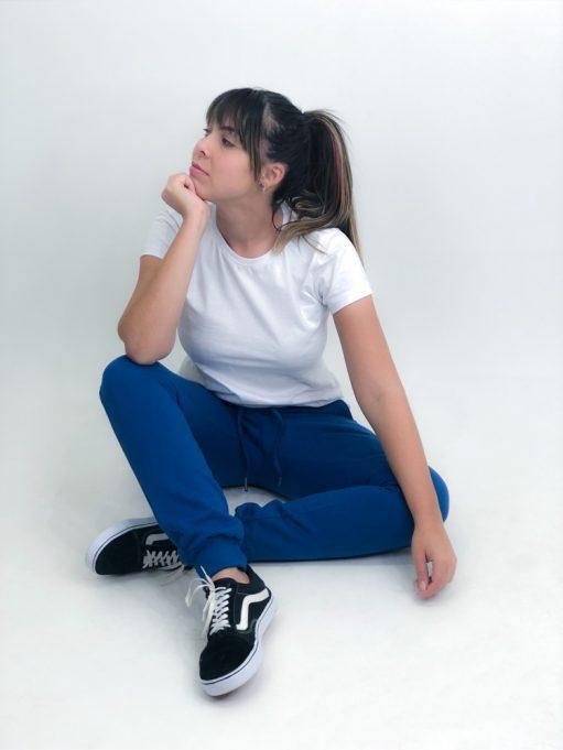 calça de moletom liso azul petróleo