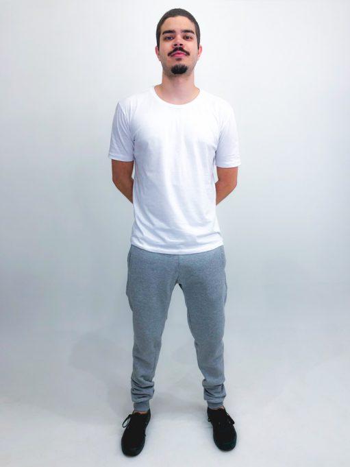 calça básica de moletom cinza