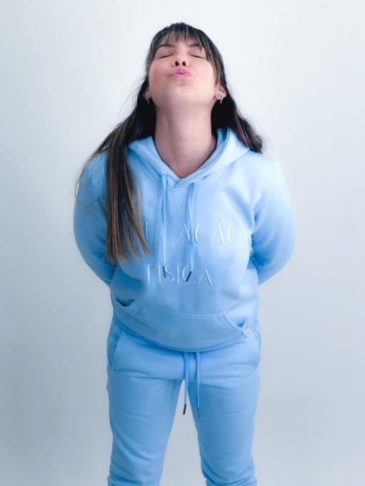 blusa de frio de educação física azul claro
