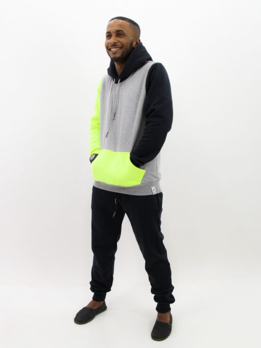 Blusa de Moletom Color Block Preto com Neon (3)