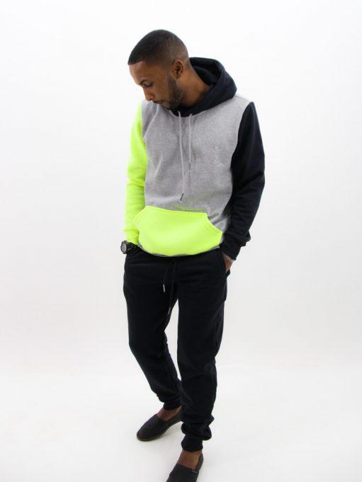 Blusa de Moletom Color Block Preto com Neon (4)
