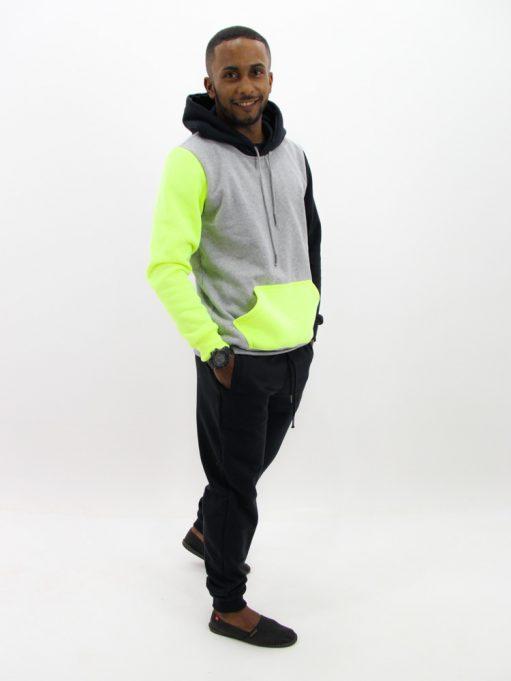 Blusa de Moletom Color Block Preto com Neon (5)