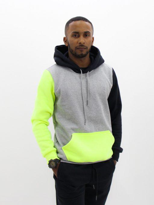 Blusa de Moletom Color Block Preto com Neon (6)