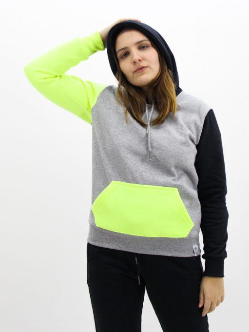 Blusa de Moletom Color Block Preto com Neon (7)