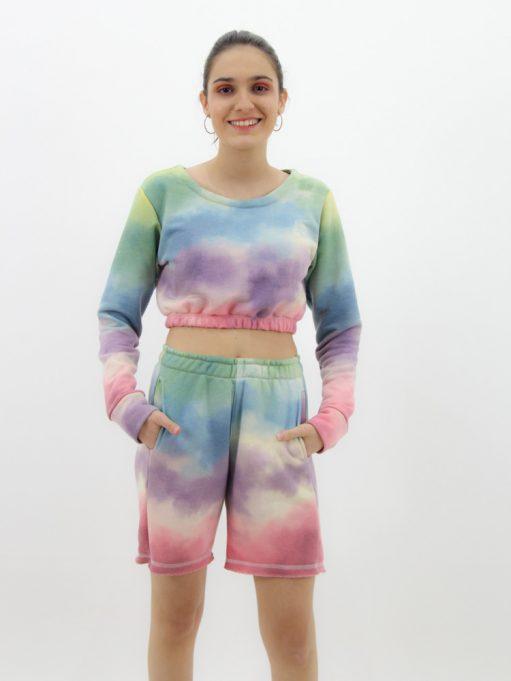 blusa cropped de moletinho tie dye